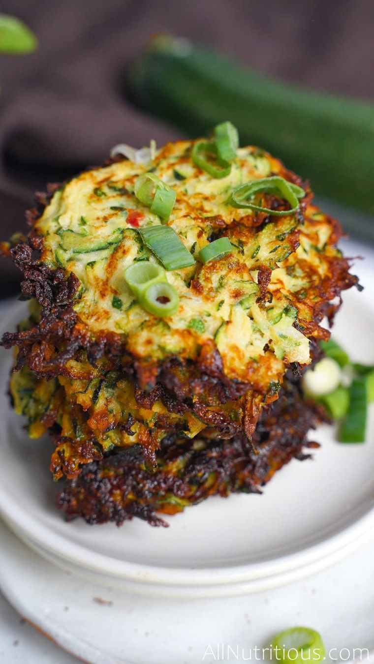 zucchini fritters with green onion