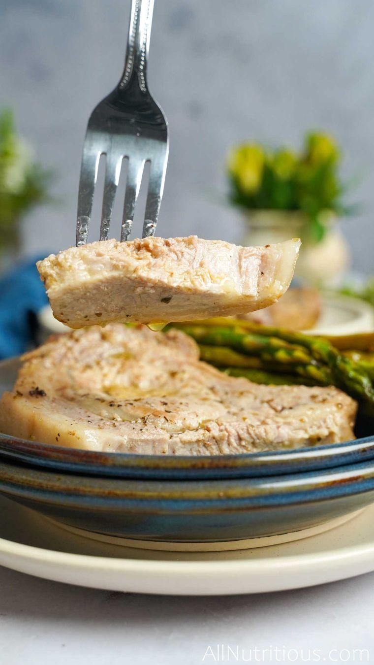 slice of pork of fork