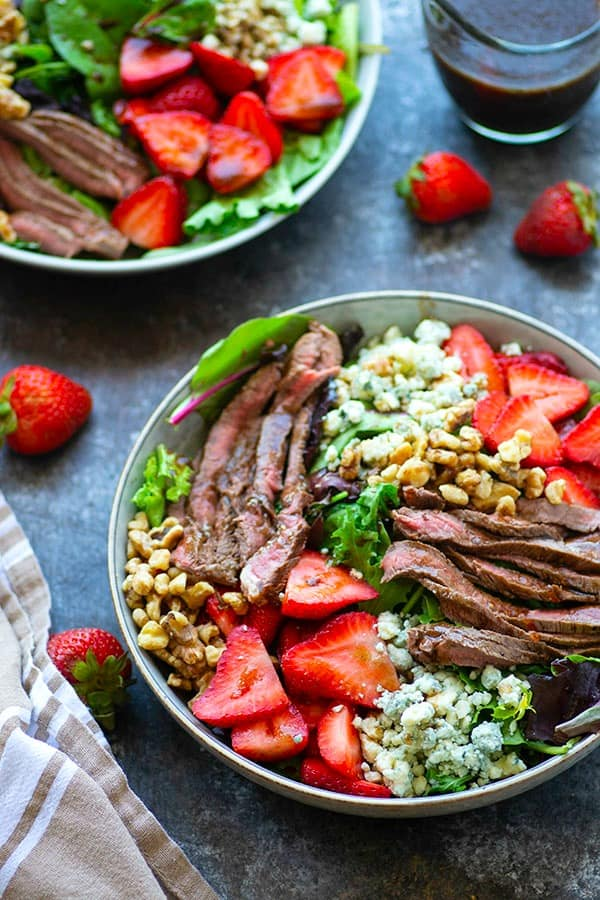 Balsamic Bleu Cheese Grilled Strawberry Salad