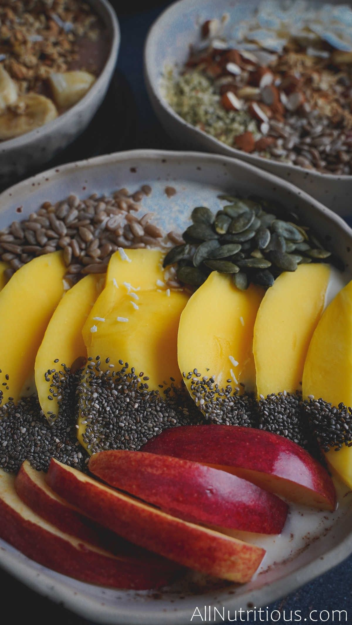 bowl with chia seeds and fruit