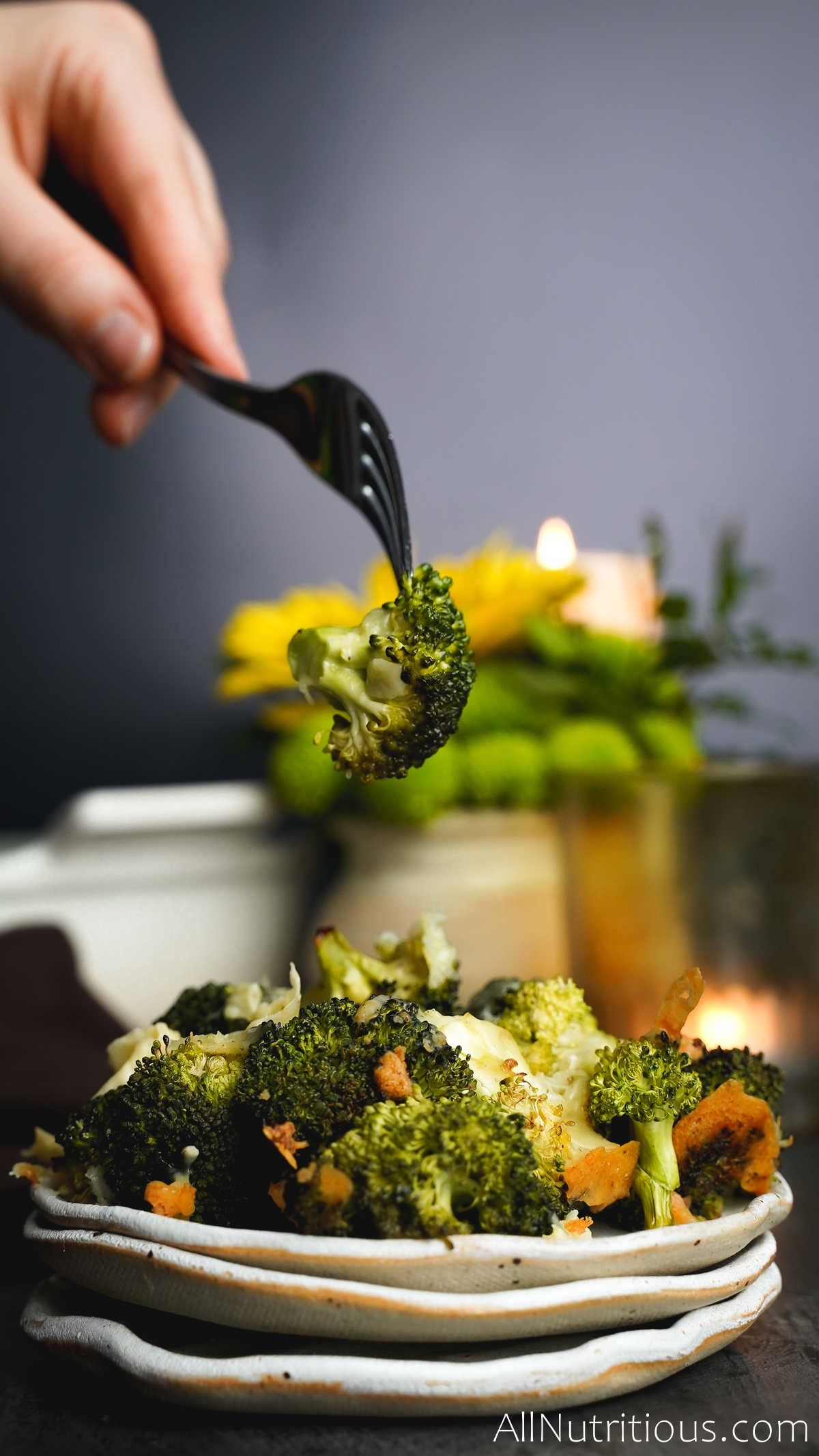 forkful of garlic broccoli