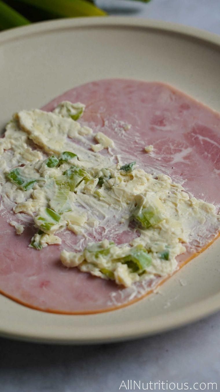 cream cheese spread on ham
