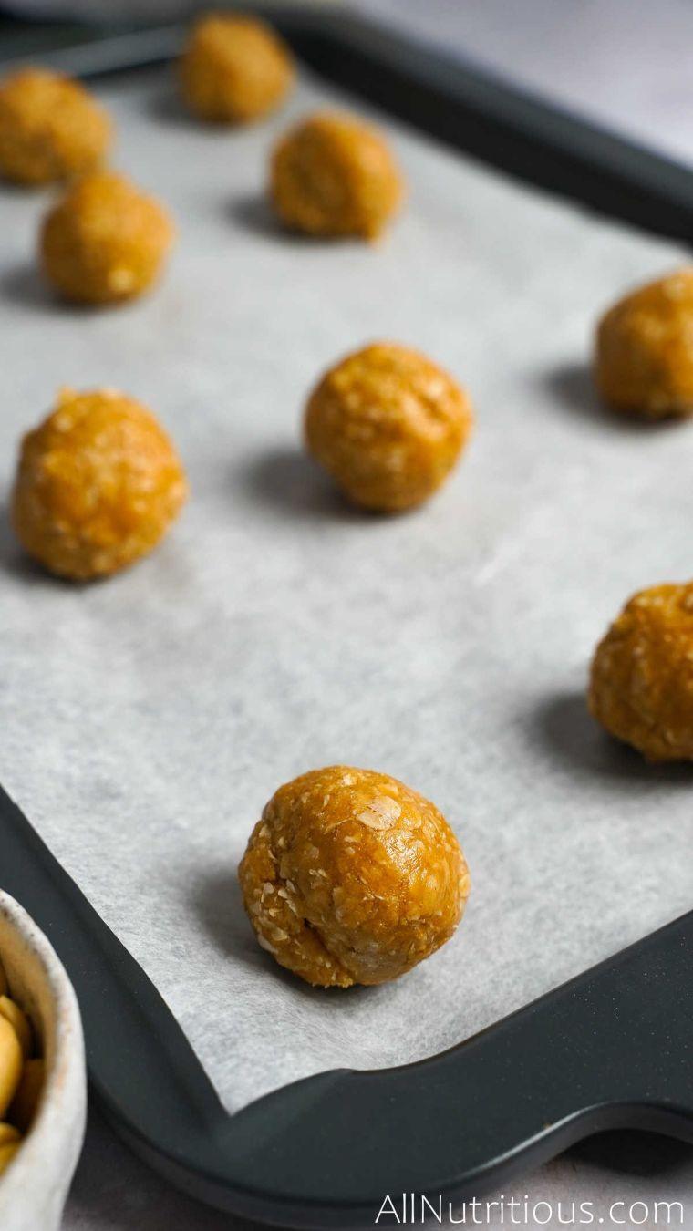 baking sheet with dough balls