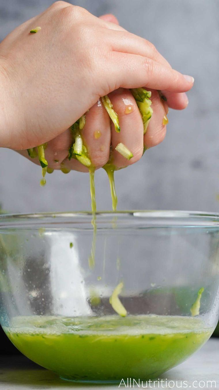 draining zucchini shreds