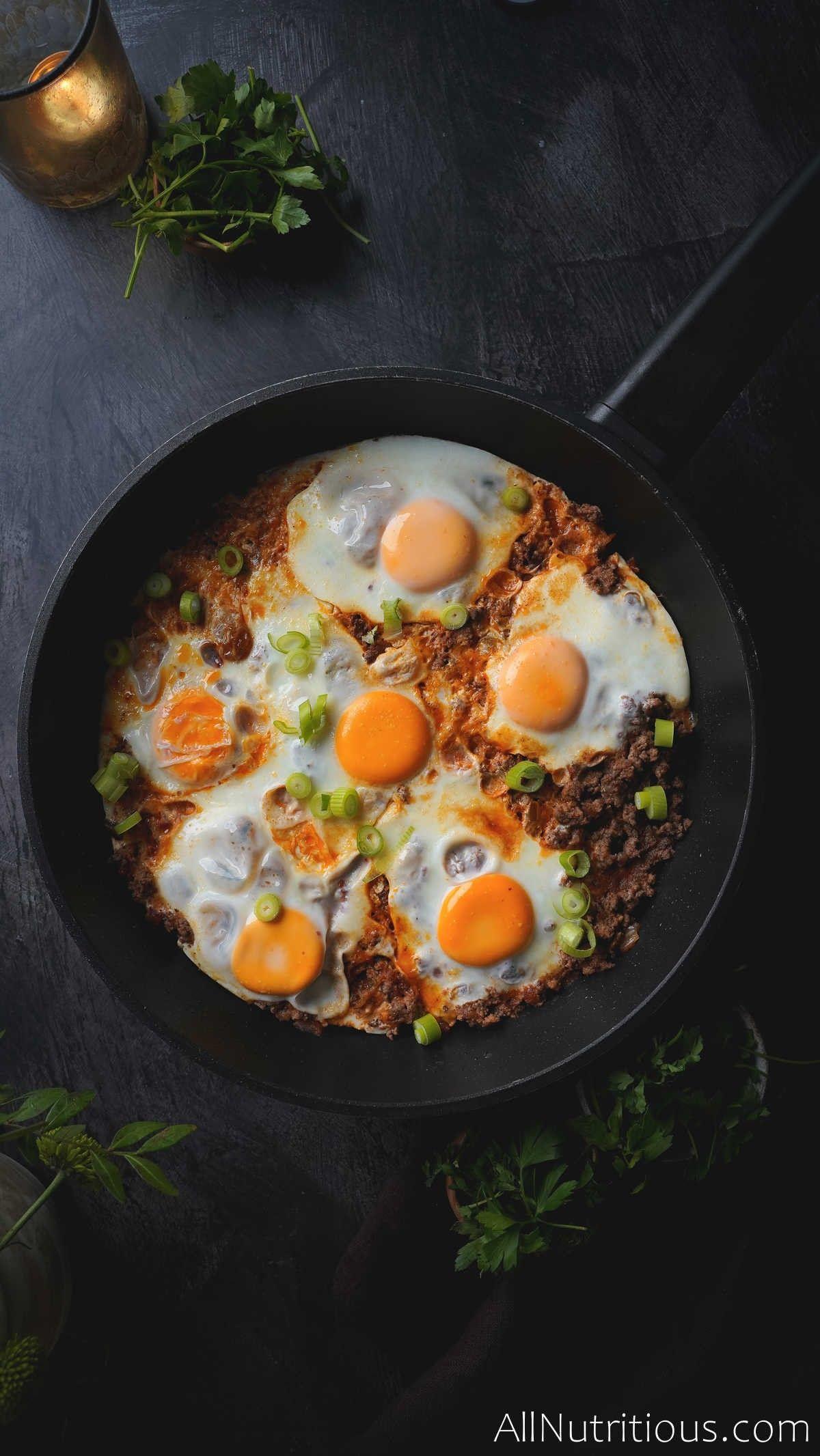 cooked egg skillet