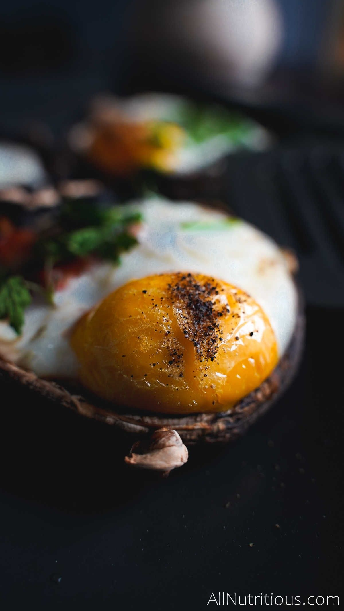cooked egg in mushroom
