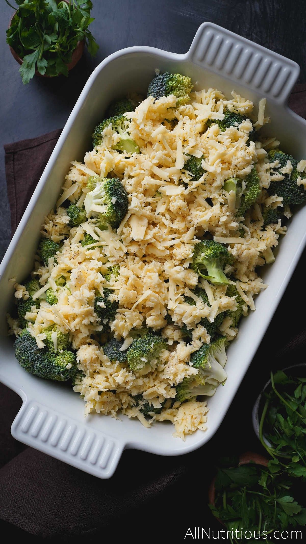 cheese topped broccoli