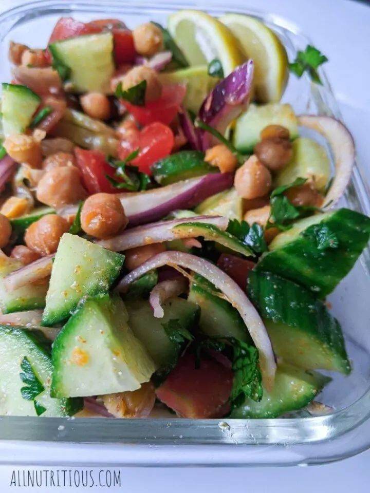 Chickpea Salad with Cucumbers & Tomato