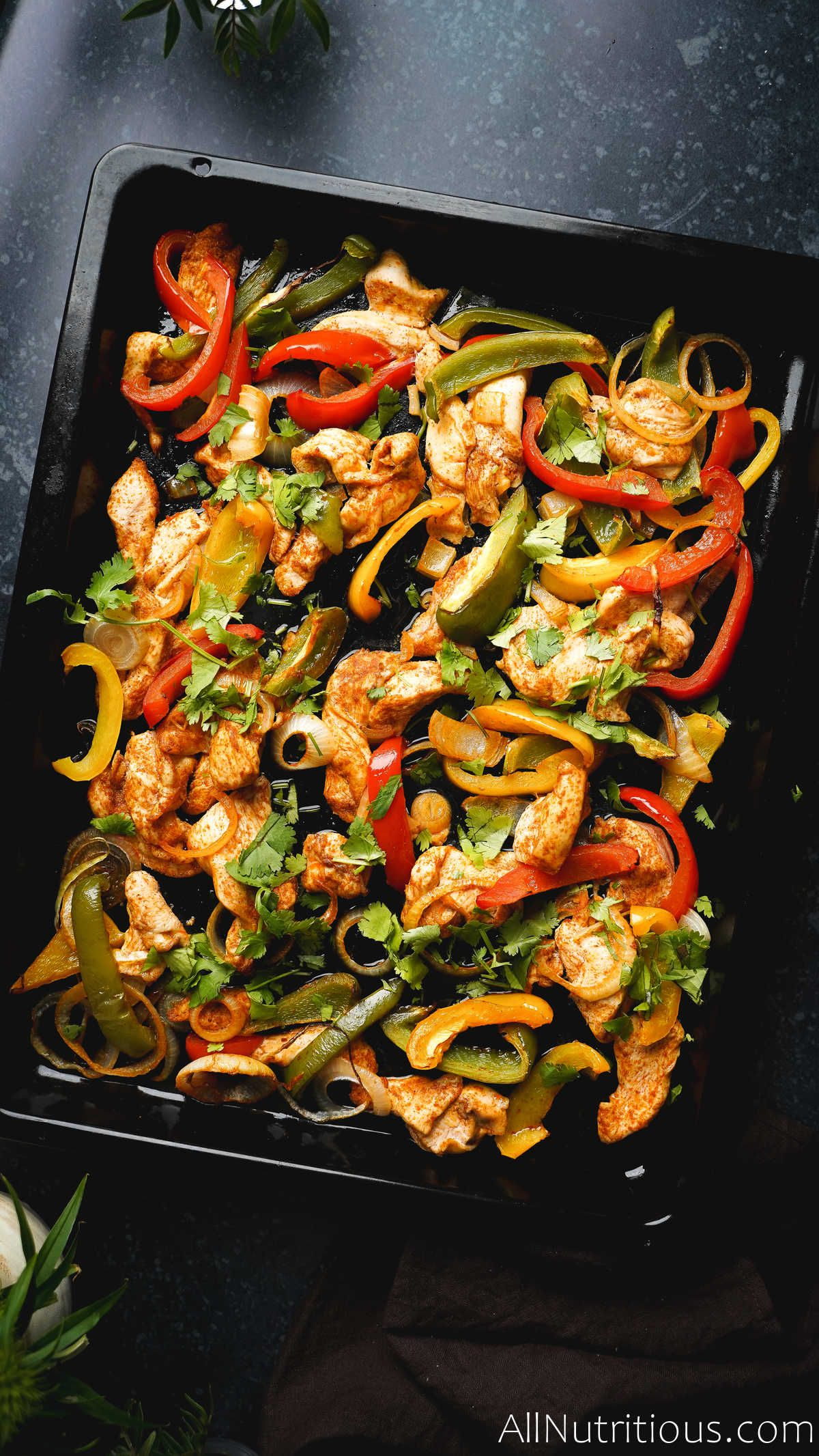 cooked sheet pan chicken and veggies