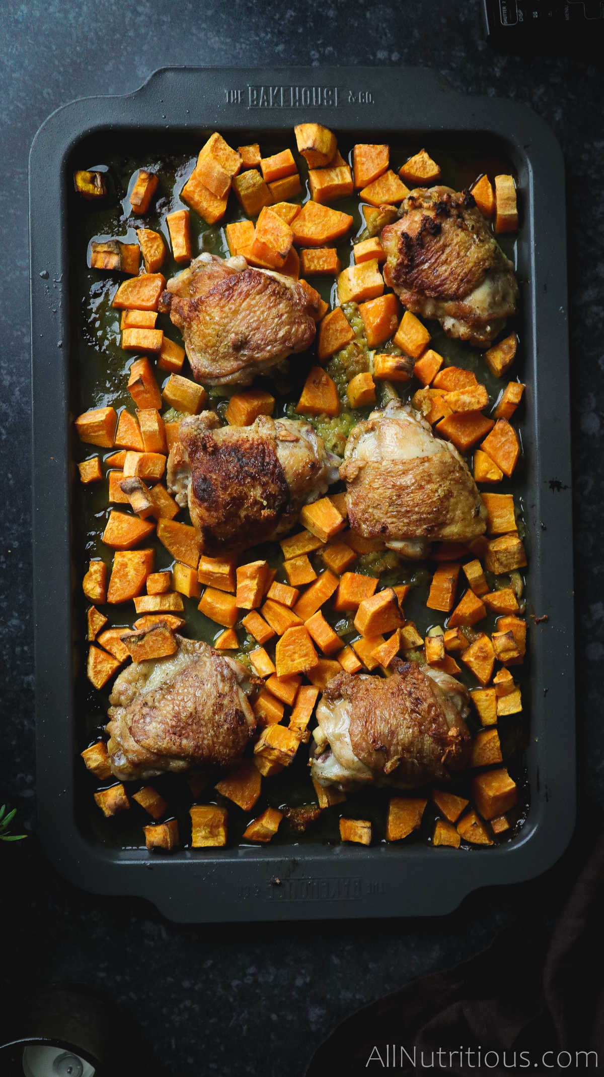 cooked sweet potatos and chicken thighs