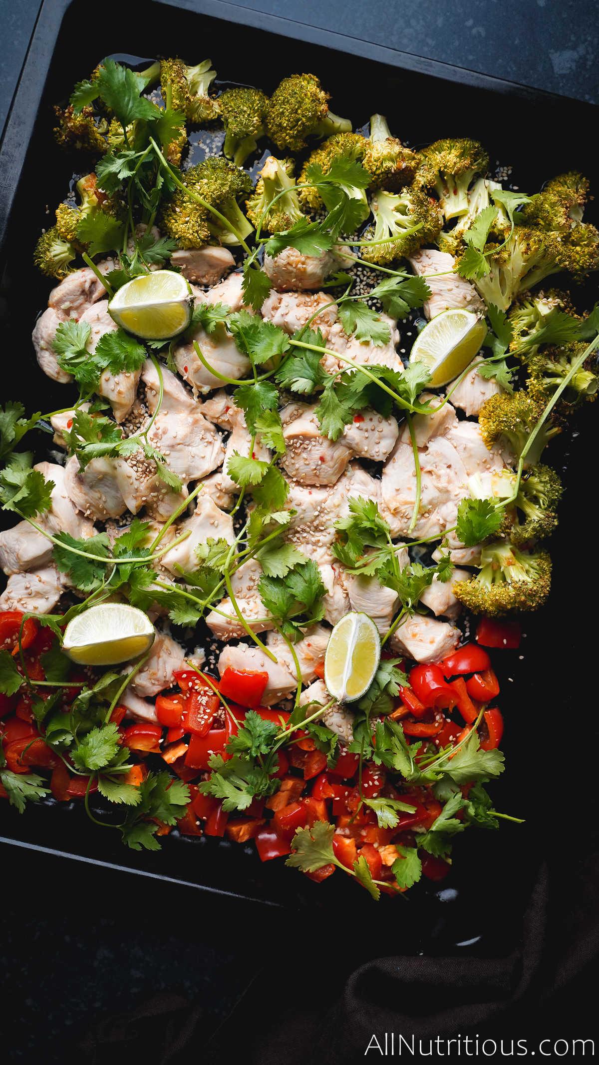 sesame seeds on sheet pan