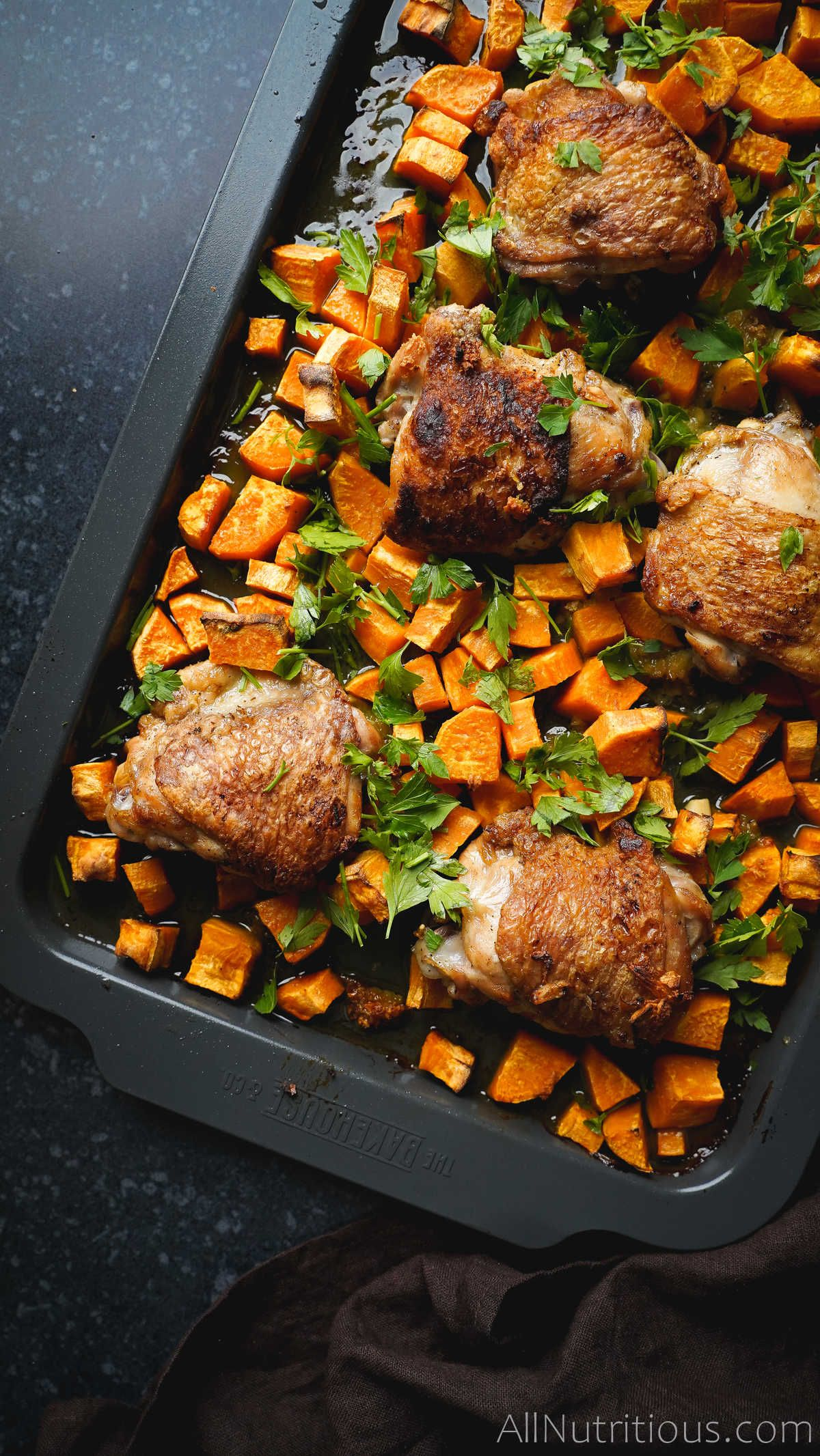 cooked chicken thighs