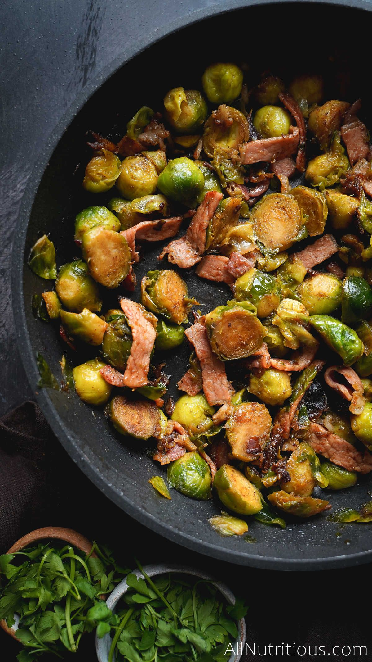 cooked brussels sprouts with bacon