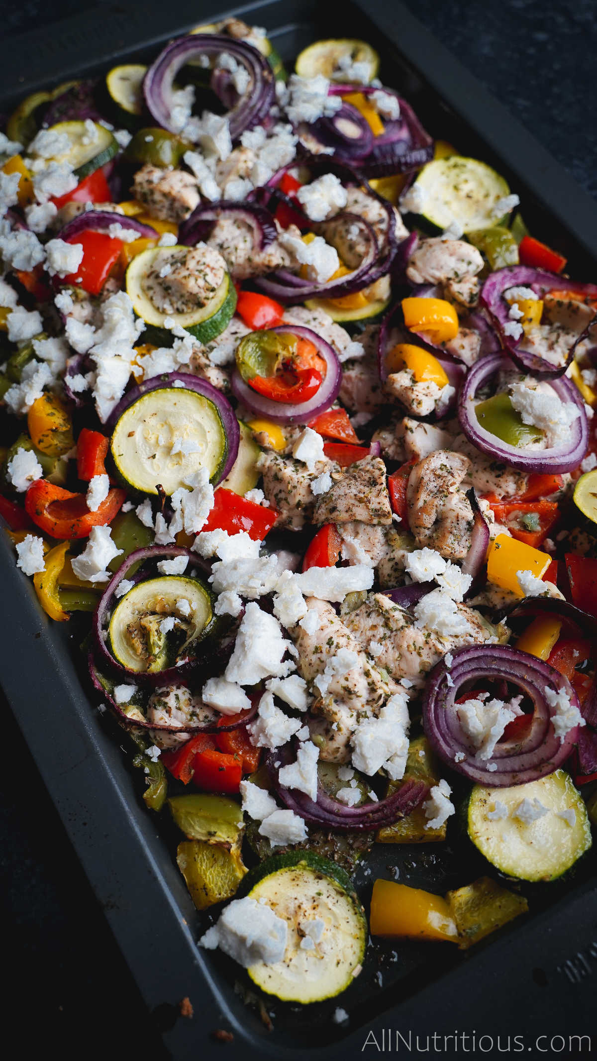 sheet pan with chicken and veggies