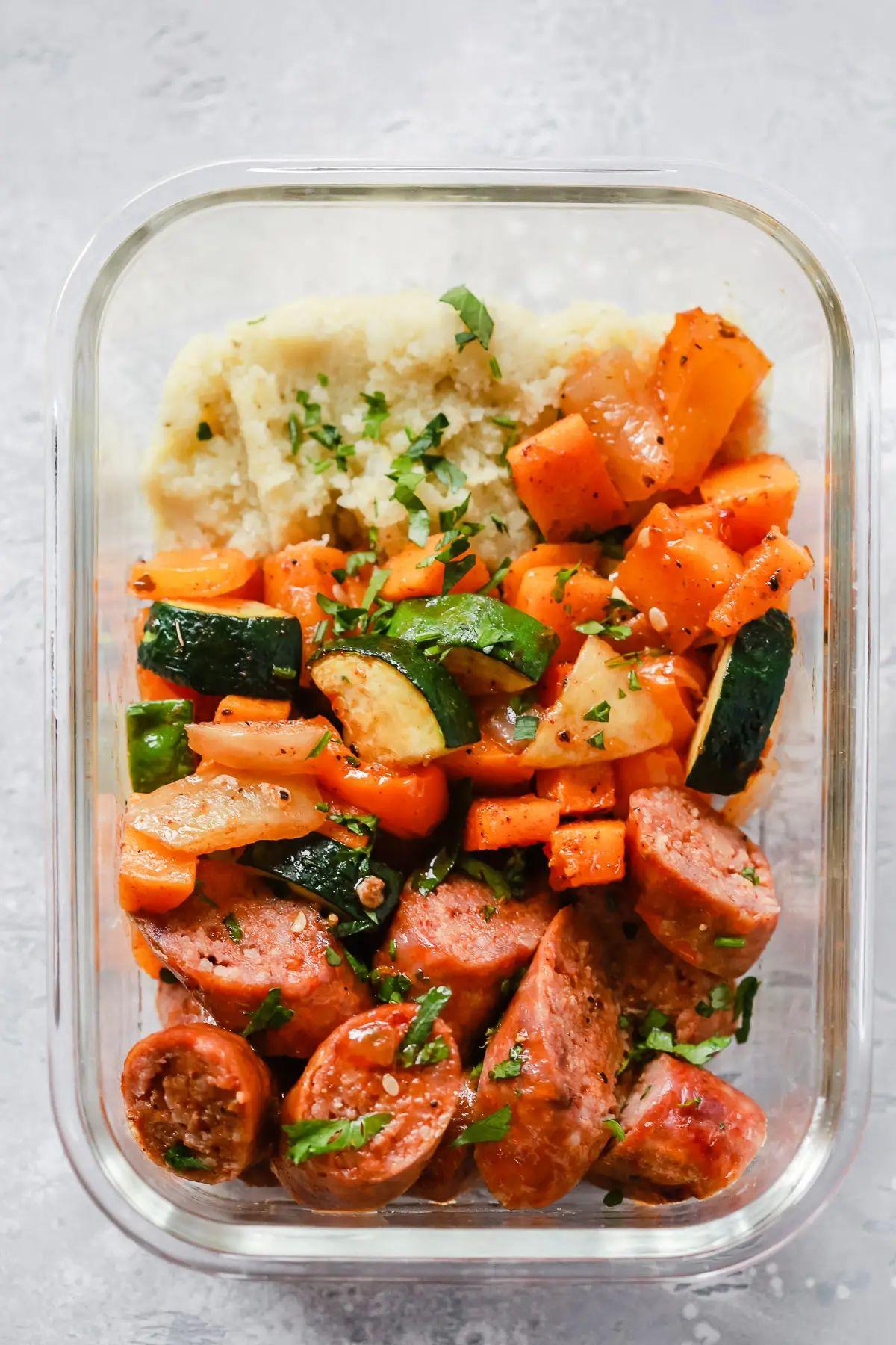 Low-Carb Sheet Pan Sausage & Veggies