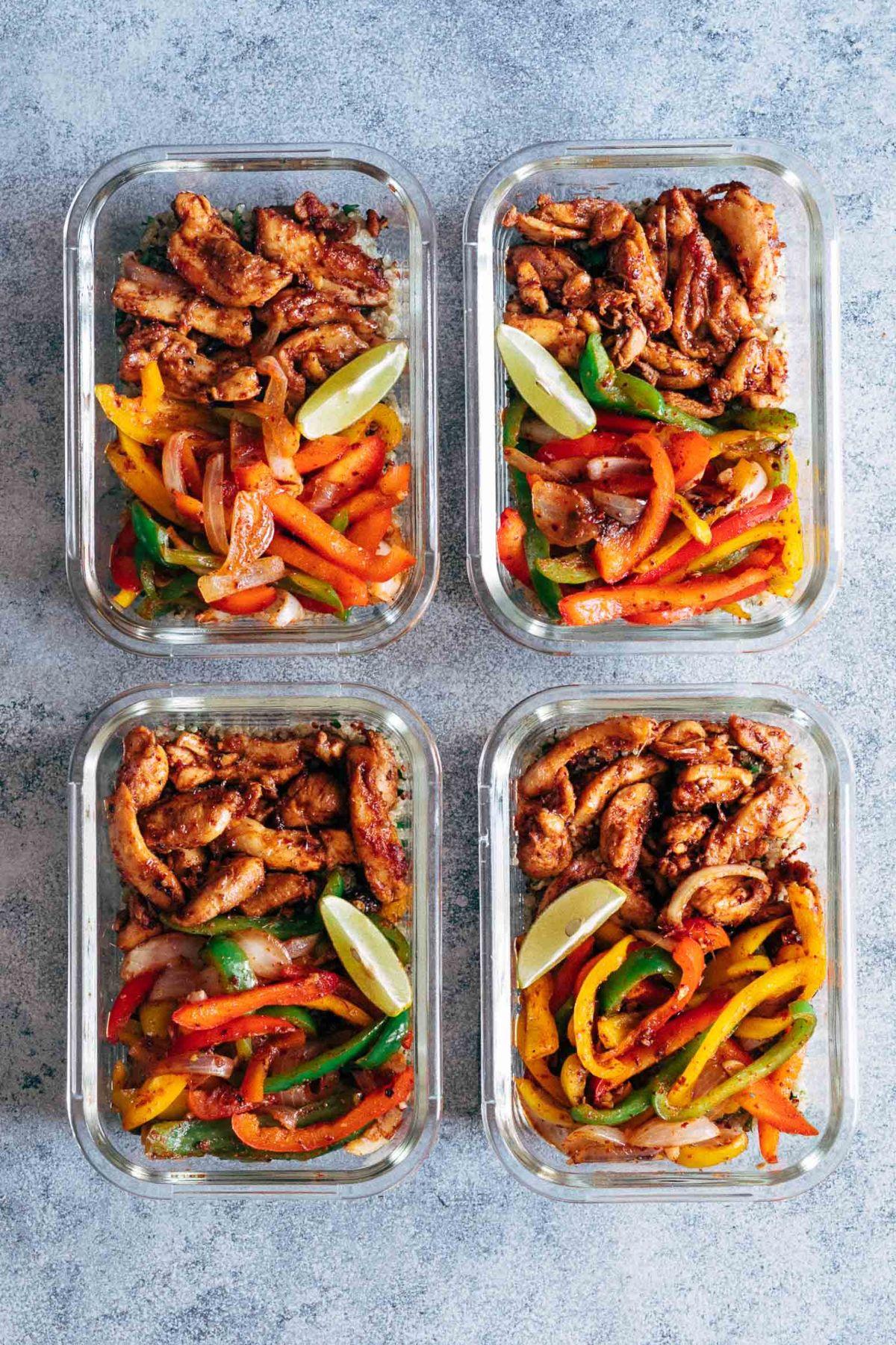 Chicken Fajita Meal Prep Lunch Bowls