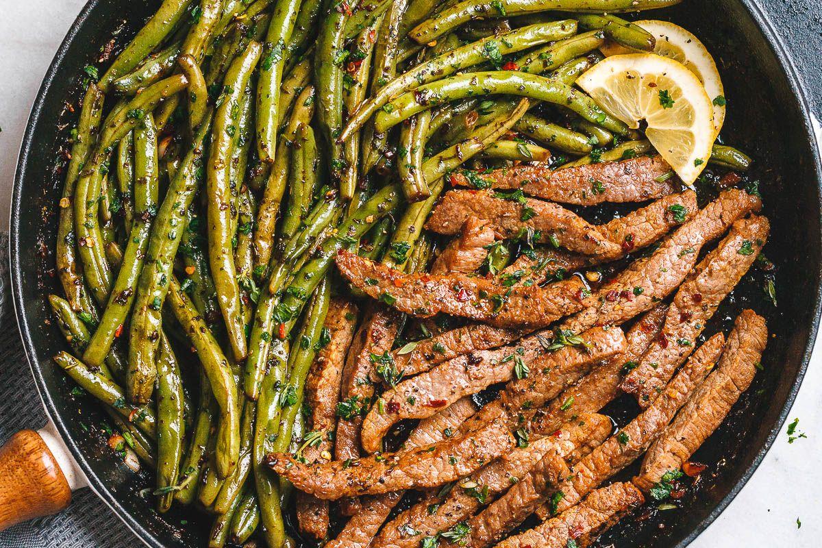 Garlic Butter Steak & Lemon Green Beans Skillet