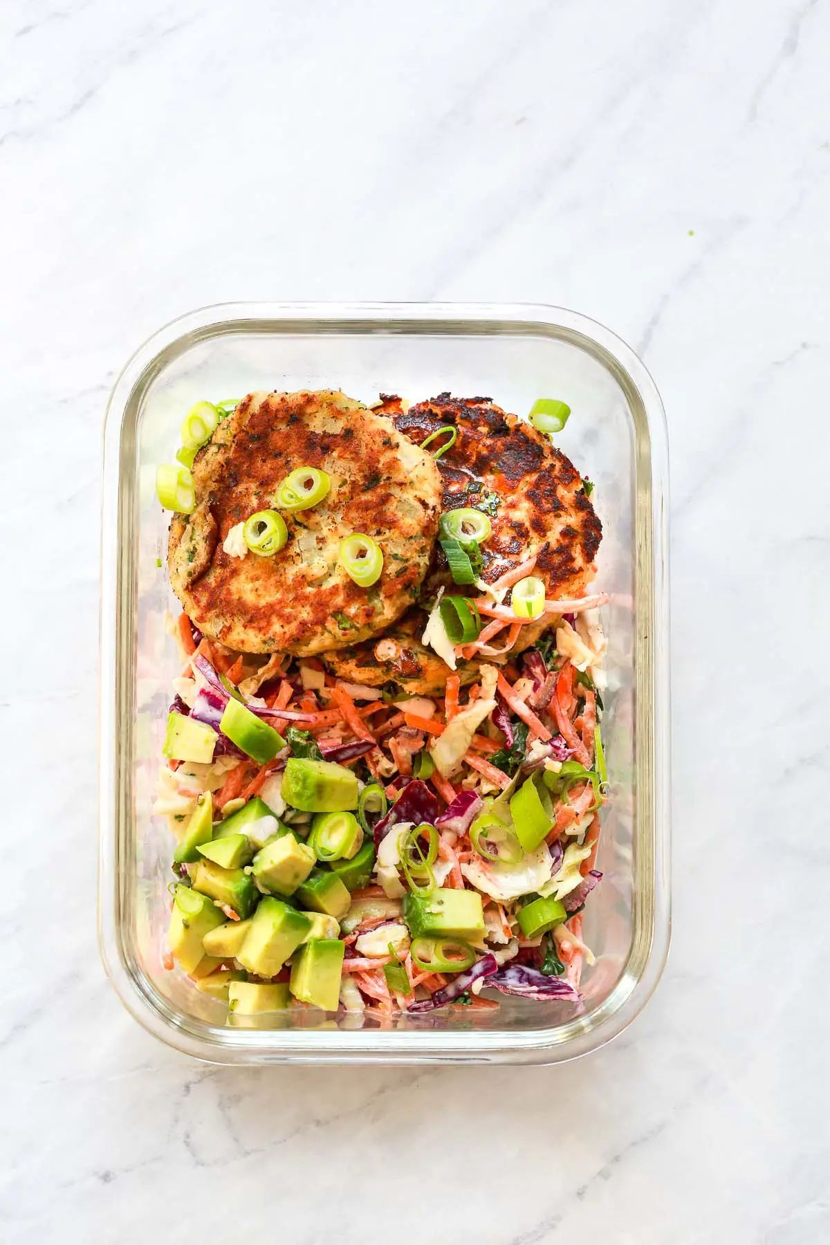 Salmon Patties with Coleslaw Meal-Prep Bowls