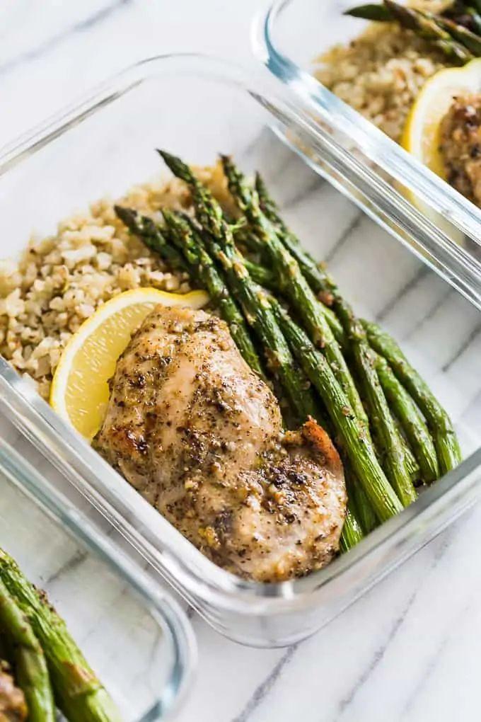 Garlic Herb Chicken & Asparagus Meal Prep