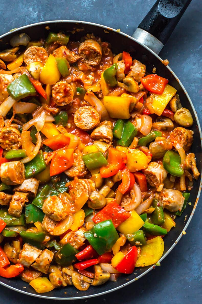 One Pan Sausage, Peppers, & Onions