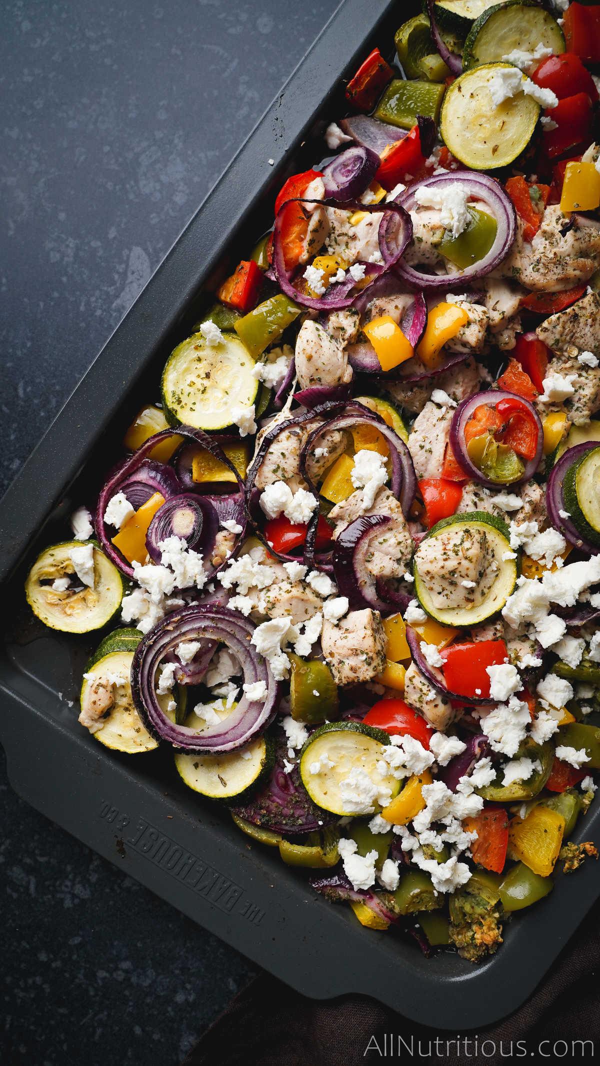cooked sheet pan with veggies