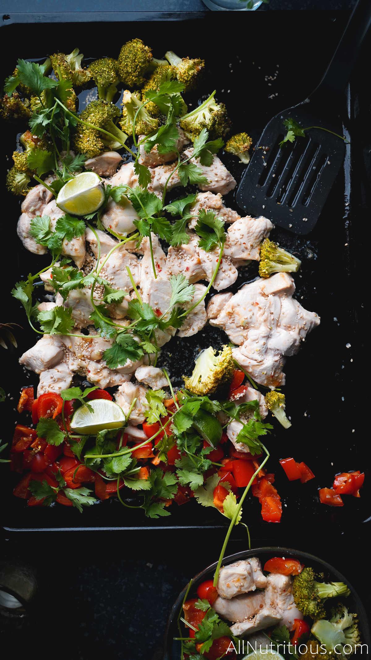 top view of sweet chilli sheet pan