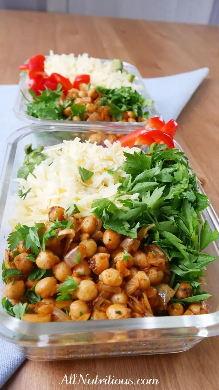 High Protein Spicy Chickpea Meal Prep Bowl