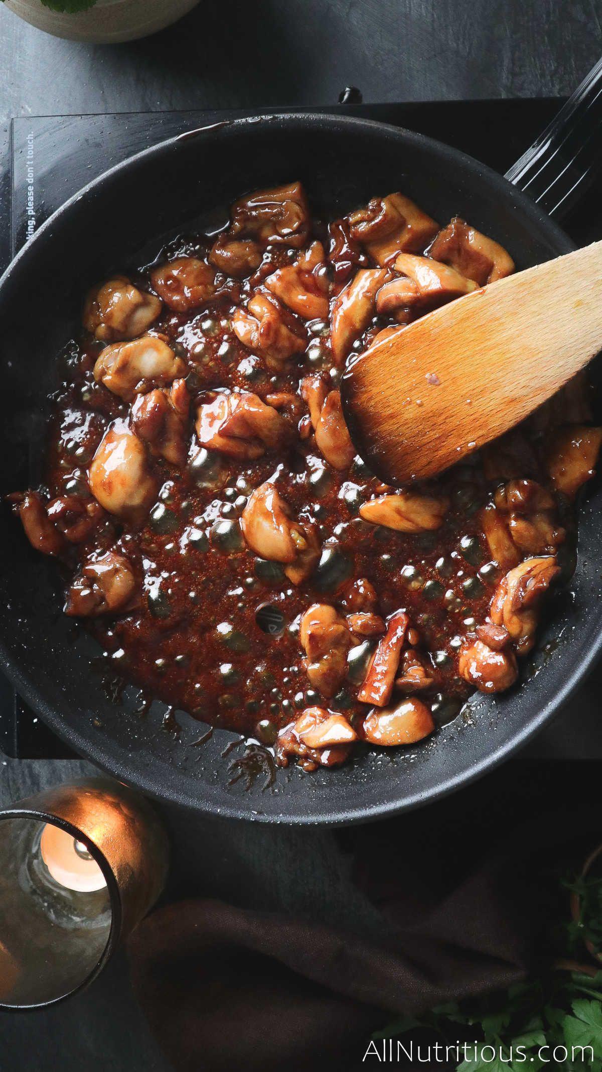 teriyaki chicken cooking in pan