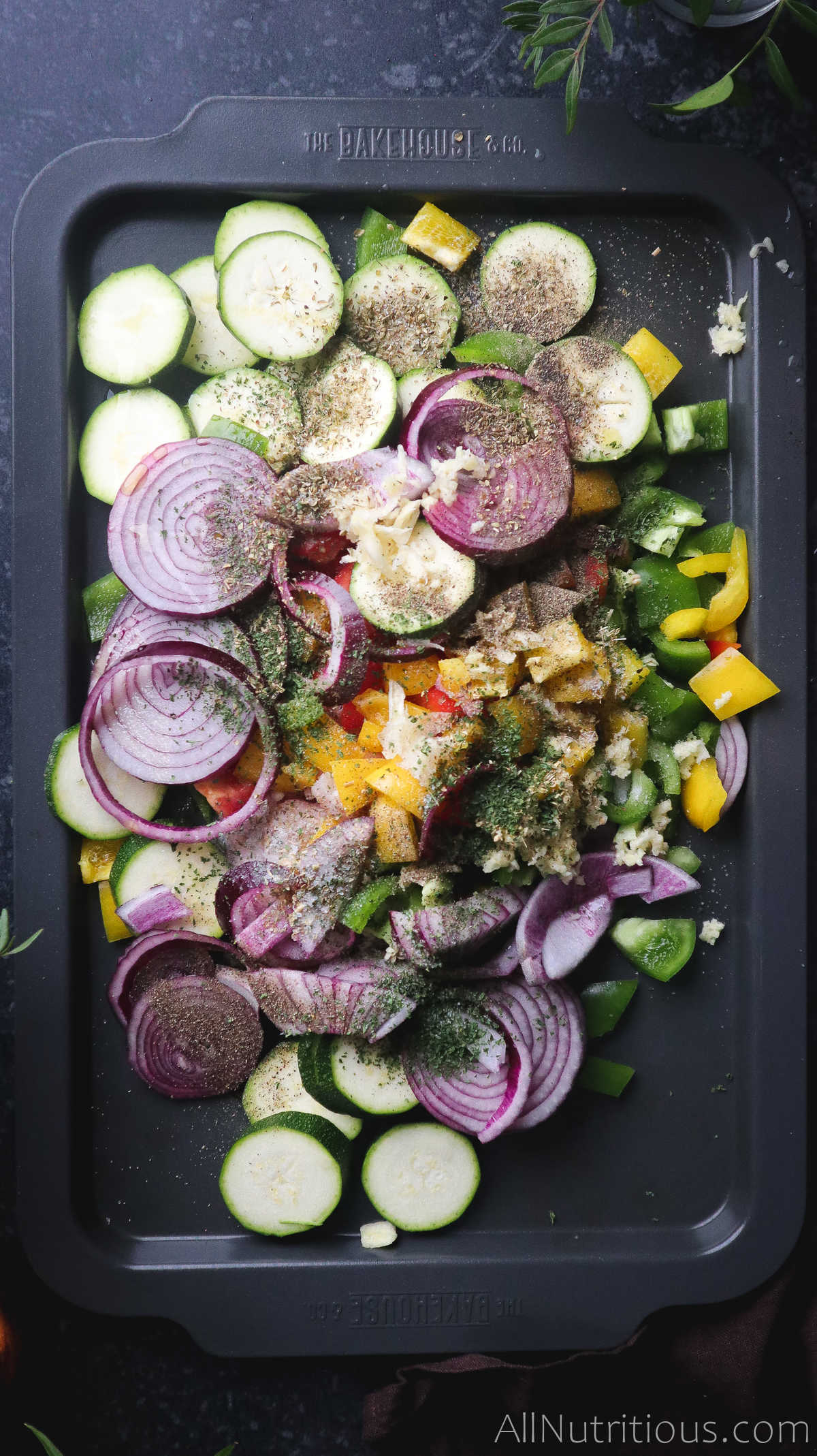 chopped veggies on sheet pan