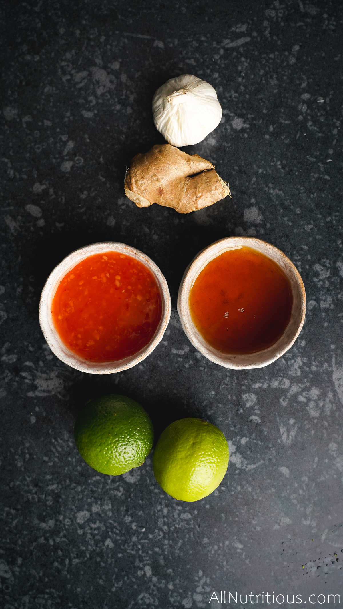sweet chilli, limes, ginger, and garlic