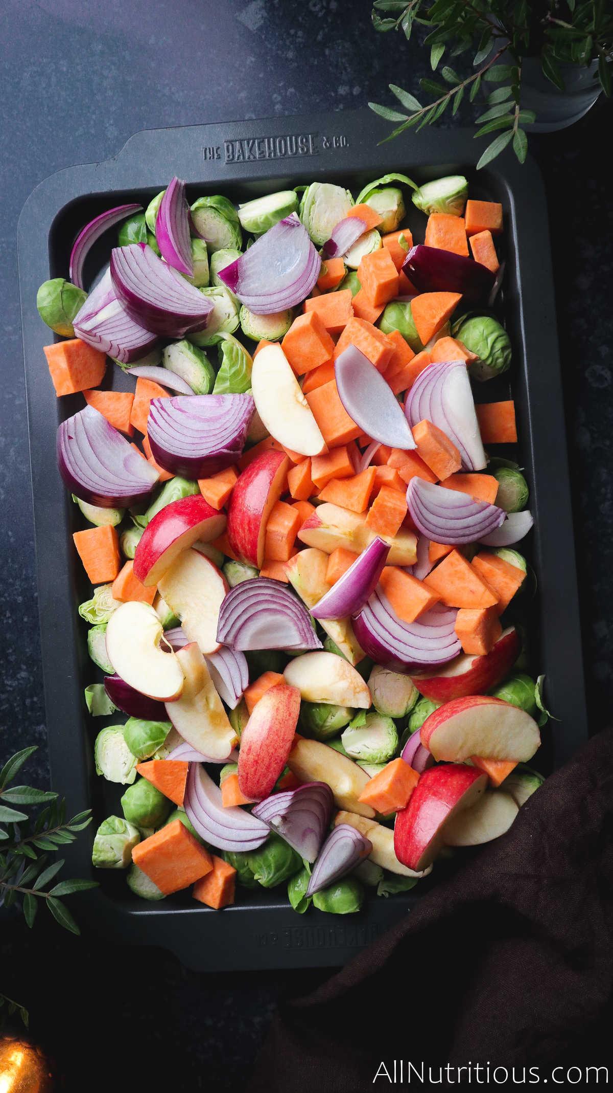 chopped veggies on pan