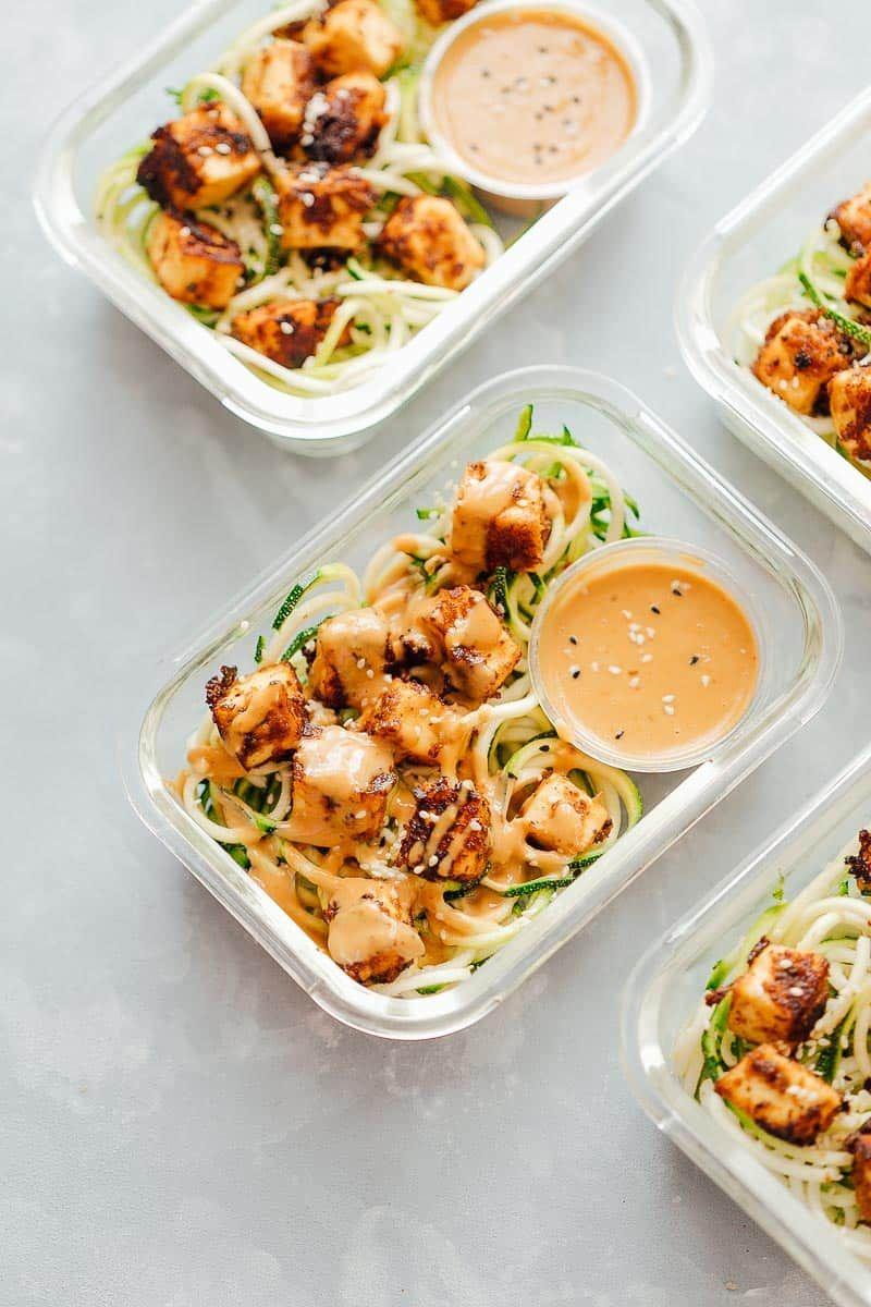Crispy Sesame Tofu with Zucchini Noodles