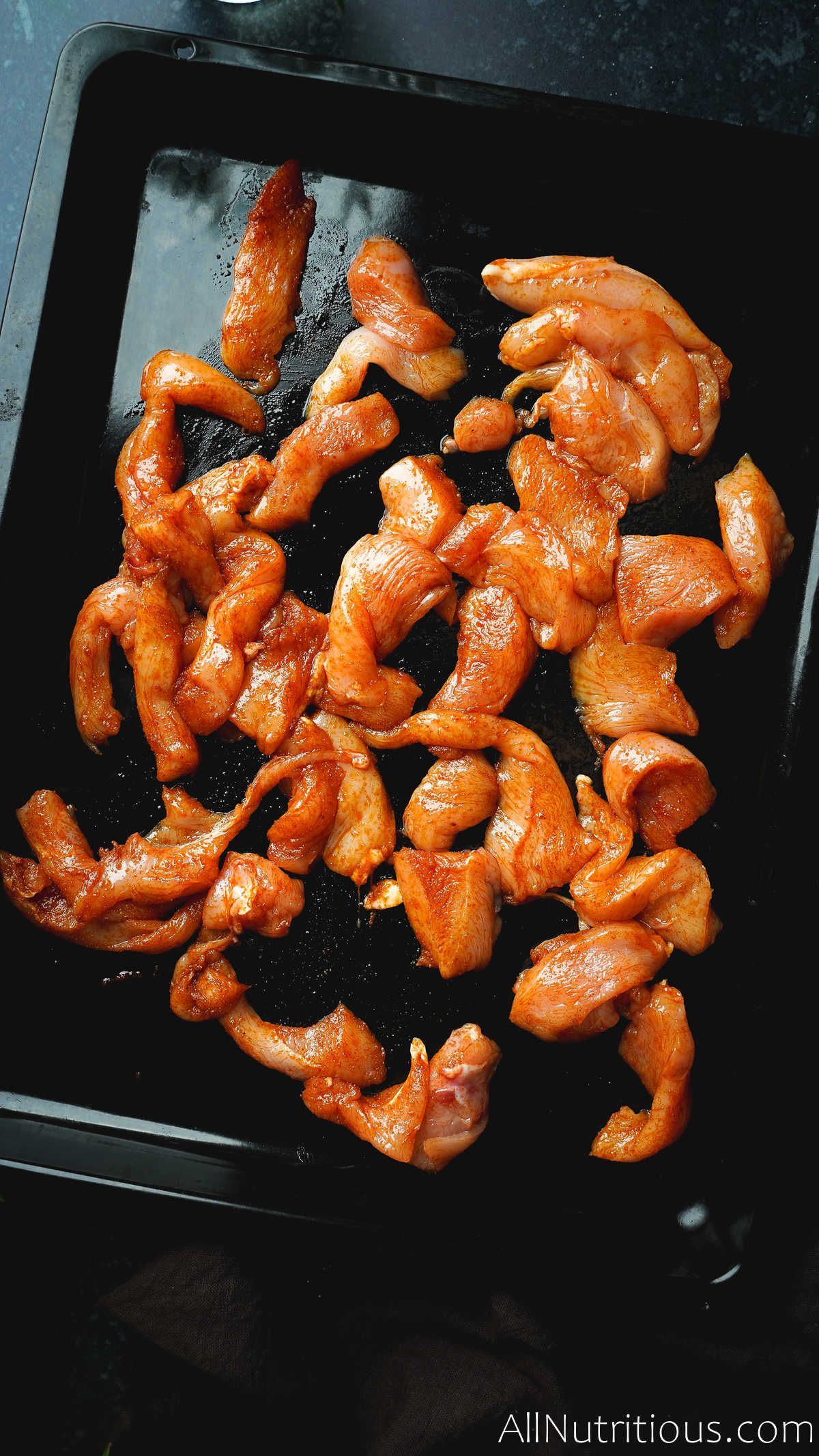 chicken strips on pan