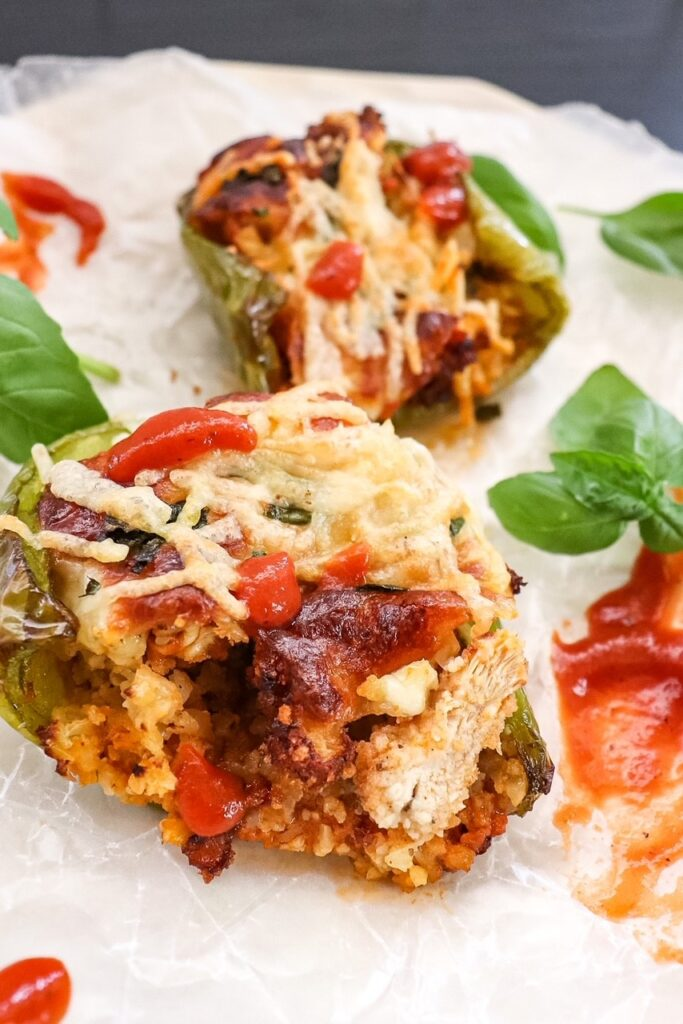 Low-Carb Chicken Parmesan Stuffed Peppers