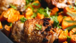 lemon chicken thighs sheet pan dinner