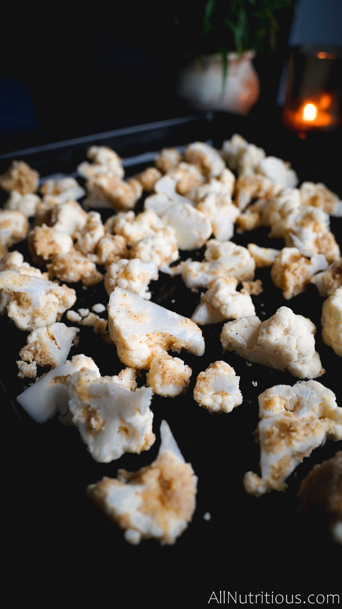 cauliflower on baking sheet