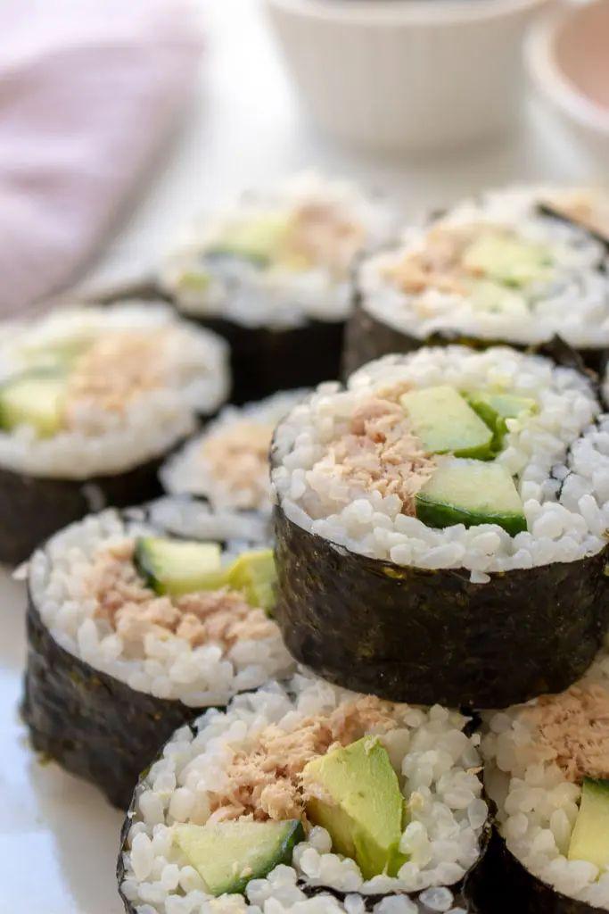 Tuna Avocado and Cucumber Sushi