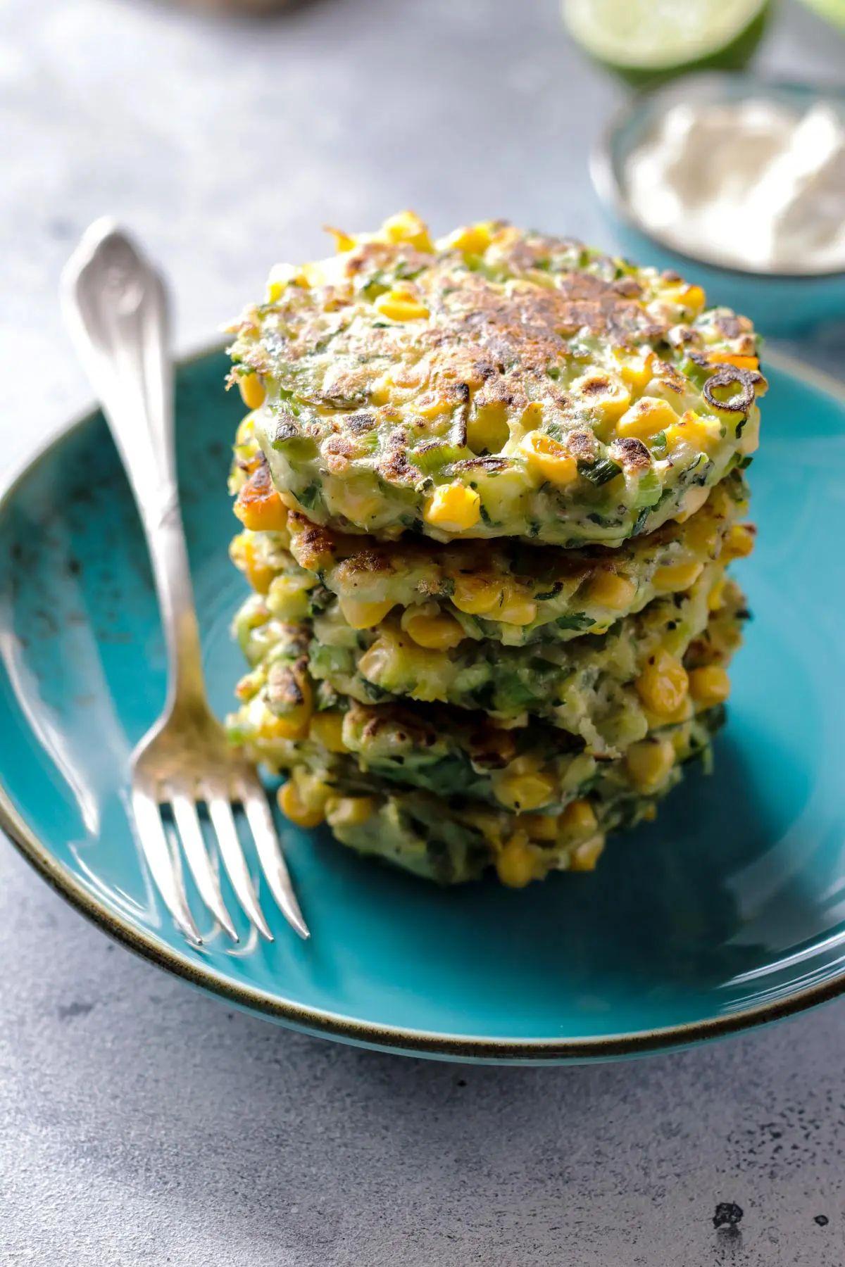 Vegan Zucchini Corn Fritters