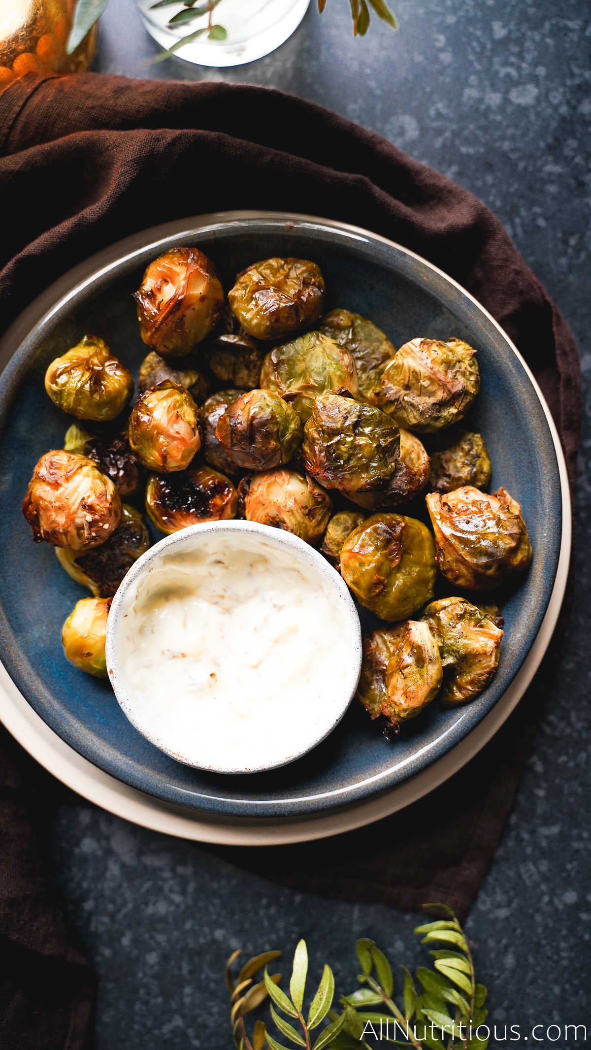 baked brussels sprouts with dipping sauce