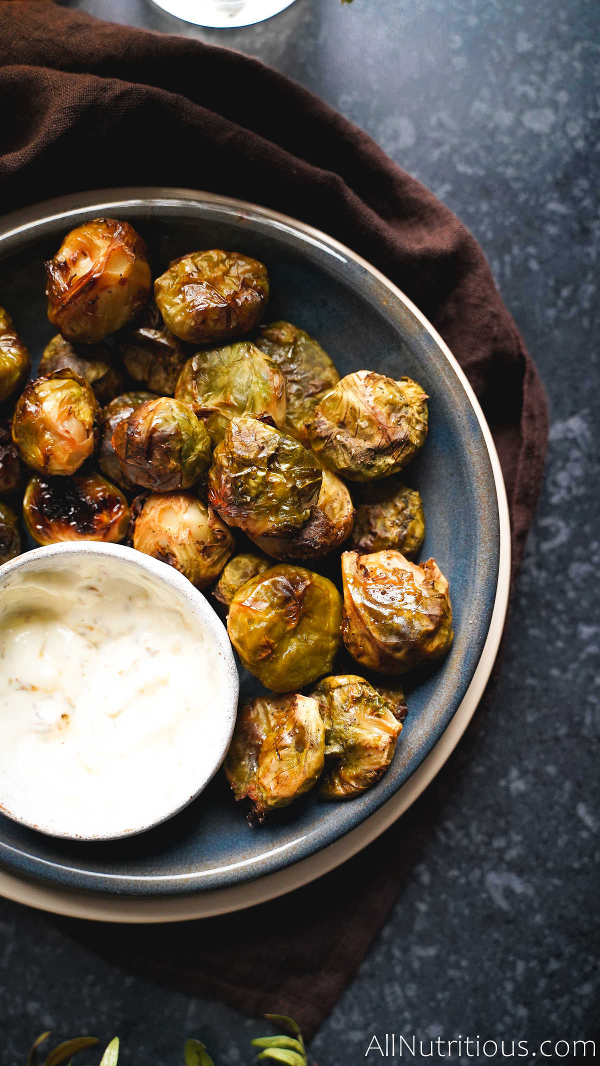 smashed brussels sprouts with dip