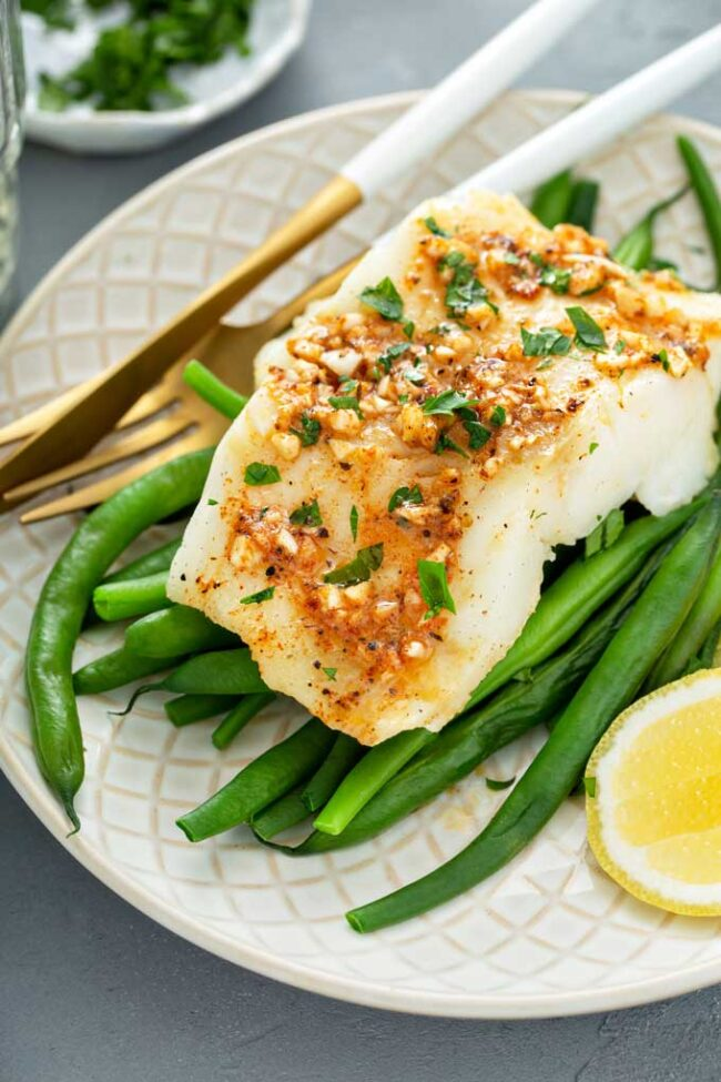 Baked Cod with Cajun Butter Sauce