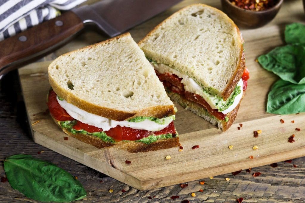 Roasted Red Pepper Sandwich with Vegan Mozzarella and Pesto