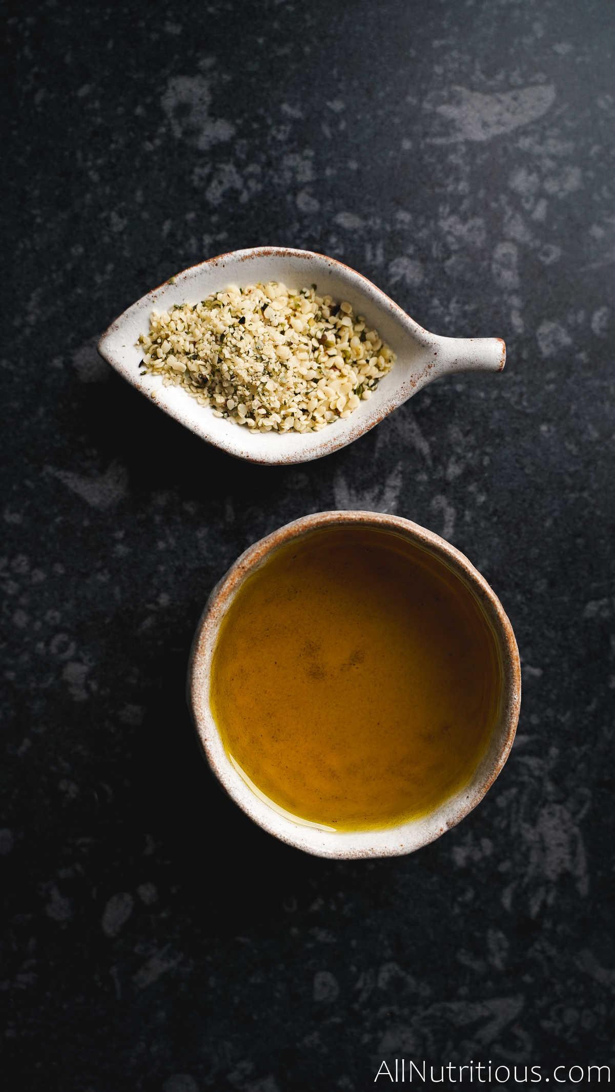olive oil and hemp seeds
