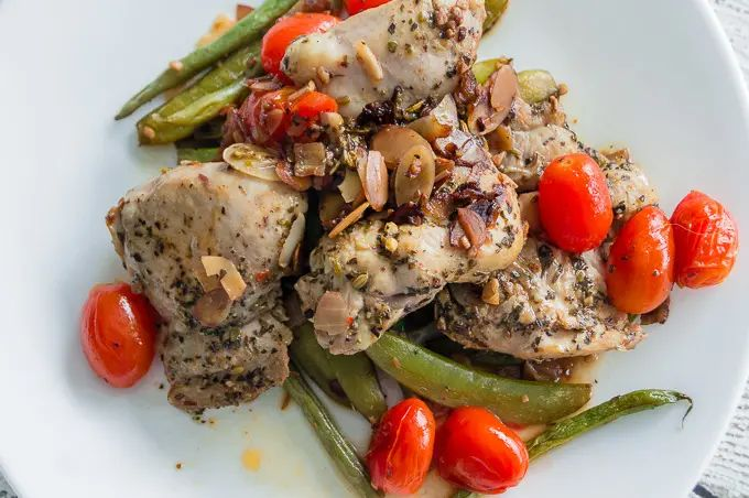 Chicken with Green Beans and Sugar Snap Pea Amandine