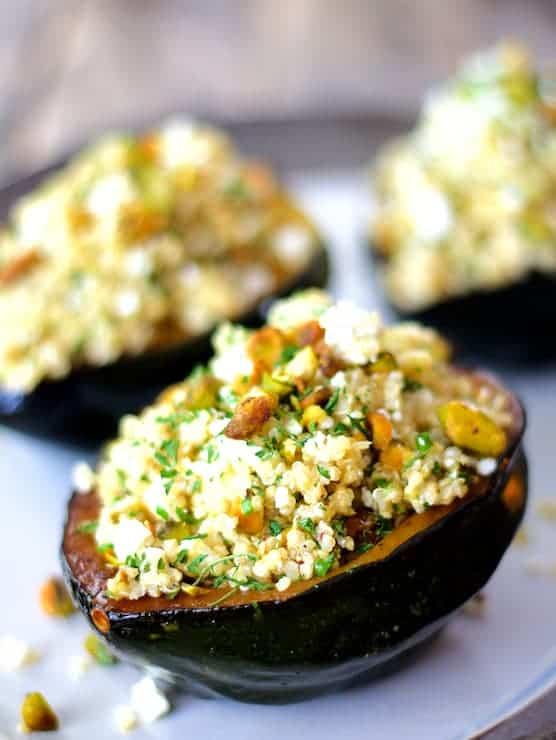 Quinoa Feta & Pistachio Stuffed Acorn Squash