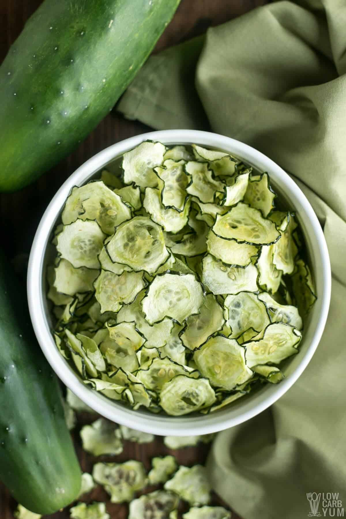 Baked Cucumber Chips with Salt & Vinegar