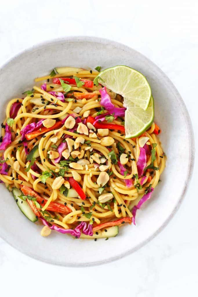 Cold Thai Noodle Salad with Peanut Dressing