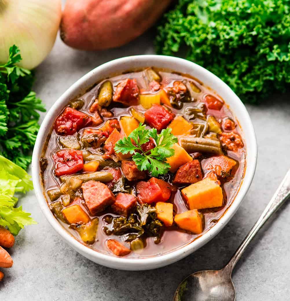 Sausage Kale Soup with Sweet Potatoes