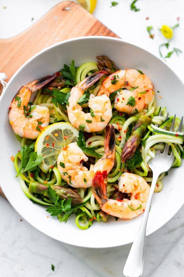 Garlic Shrimp & Asparagus with Zucchini Noodles