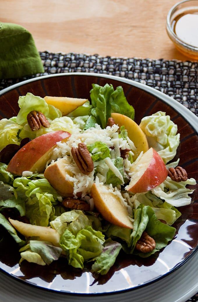 Apple Mozzarella Pecan Salad with Maple Vinaigrette